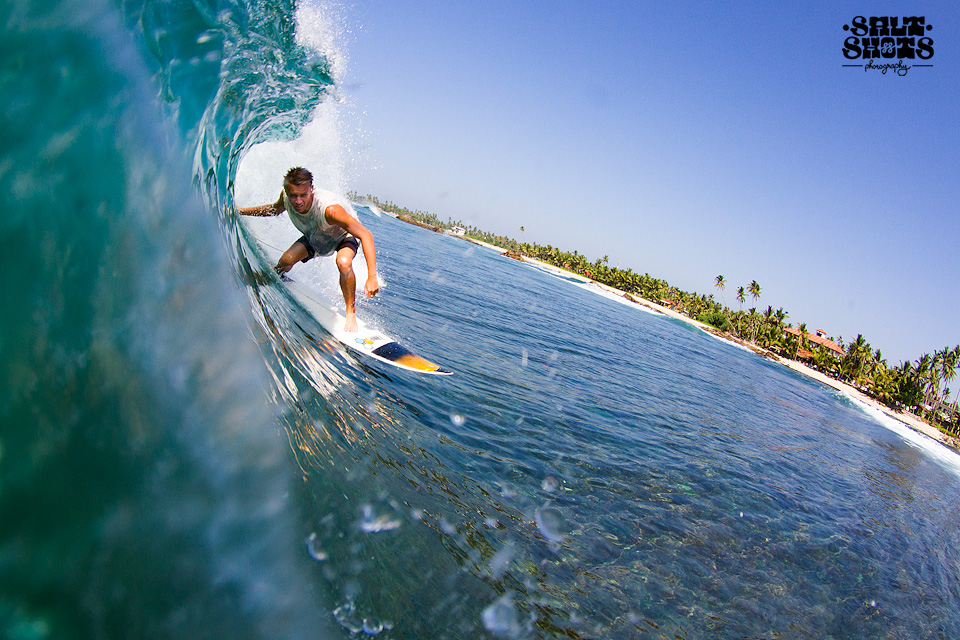 Josh Barrow surfing in Sri Lanka